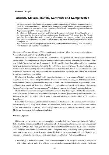 Objekte, Klassen, Module, Kontrakte und Komponenten (pdf)