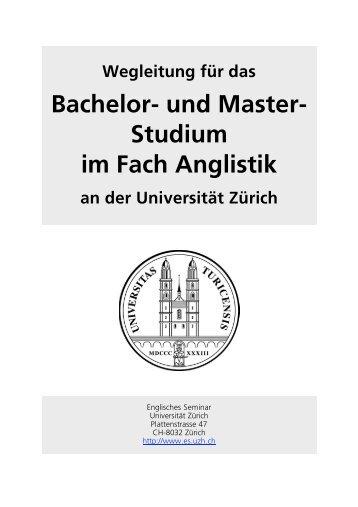 Bachelor- und Master- Studium im Fach Anglistik - Englisches Seminar