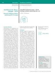 Anästhesie in der Thorax- chirurgie – Teil II: