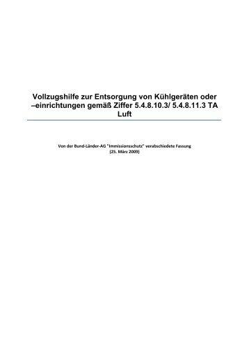 Vollzugshilfe zur Entsorgung von Kühlgeräten oder ... - LANUV NRW