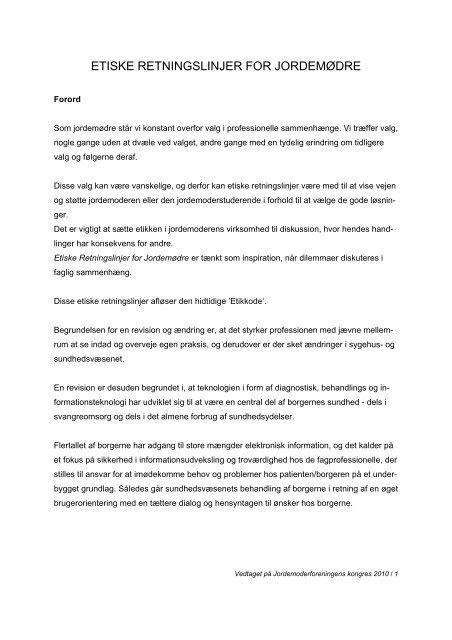 etiske retningslinjer for jordemødre - Jordemoderforeningen