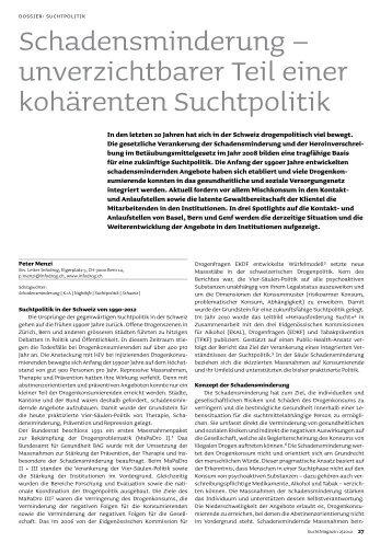 unverzichtbarer Teil einer kohärenten Suchtpolitik - Infodrog