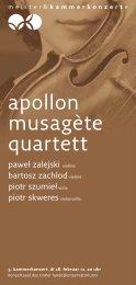 apollon musagète quartett - Meister & Kammerkonzerte