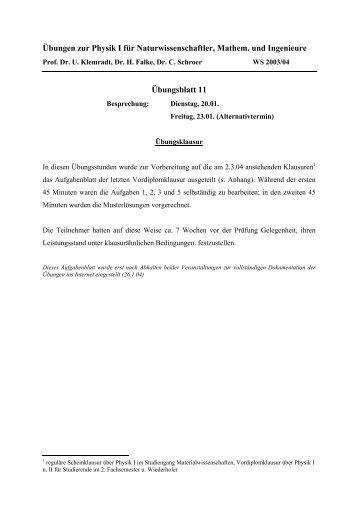 Übungen zur Physik I für Naturwissenschaftler, Mathematiker und ...