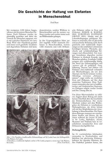 Die Geschichte der Haltung von Elefanten in Menschenobhut