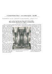 Die erste deutsche Orgel in Amerika. - Walcker Orgelbau
