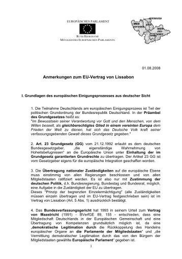 Anmerkungen zum EU-Vertrag von Lissabon - Ruth Hieronymi