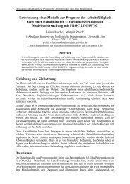 Entwicklung eines Modells zur Prognose der Arbeitsfähigkeit nach ...