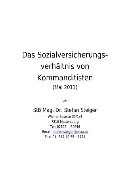 Das Sozialversicherungs- verhältnis von Kommanditisten