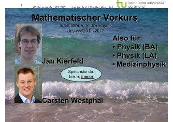 Mathematischer Vorkurs - Theoretische Physik I