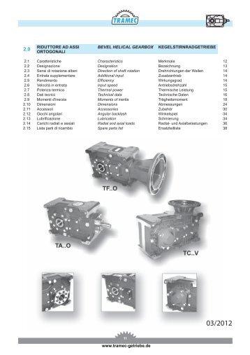 Auszug: TRAMEC-Getriebe Serie T (Kegelstirnradgetriebe)