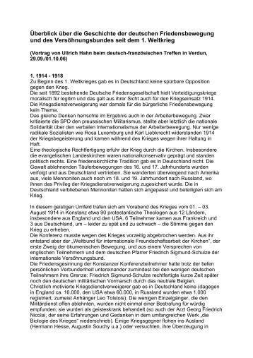 Überblick über die Geschicht der deutschen Friedensbewegung und