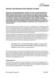 Positionspapier Finanzen - Grüne Kanton Zürich