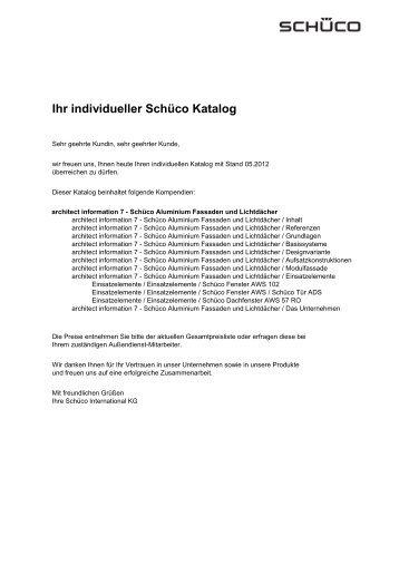 Индивидуальная подборка из каталога / каталогов Schüco