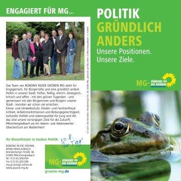 POLITIK GRÜNDLICH ANDERS - gruene-mg