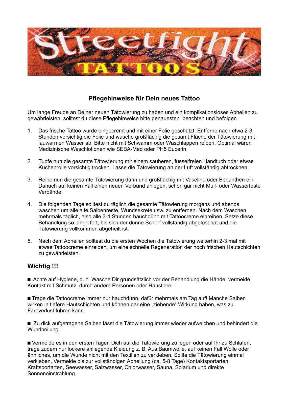 Faszinierend Tattoo Folie Entfernen Foto Von Streetfight.tattoo.de