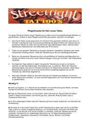 Pflegehinweise für Dein neues Tattoo Wichtig !!! - Streetfight Tattoo