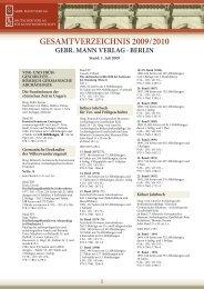 GESAMTVERZEICHNIS 2009 / 20 0 - Dietrich Reimer Verlag GmbH ...