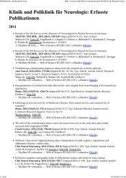 Publikations- und Kontroll-Liste - Zentrum für Neurologie und ...