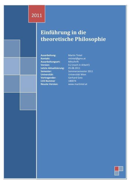 Einführung in die theoretische Philosophie - Martin Tintel Homepage