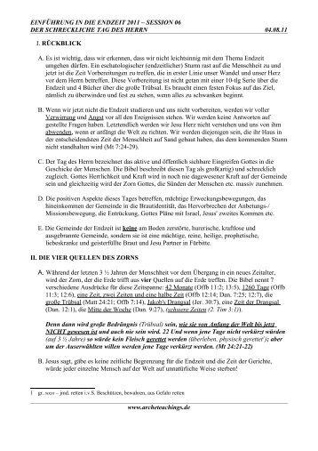 EINFÜHRUNG IN DIE ENDZEIT 2011 ... - Arche Teachings