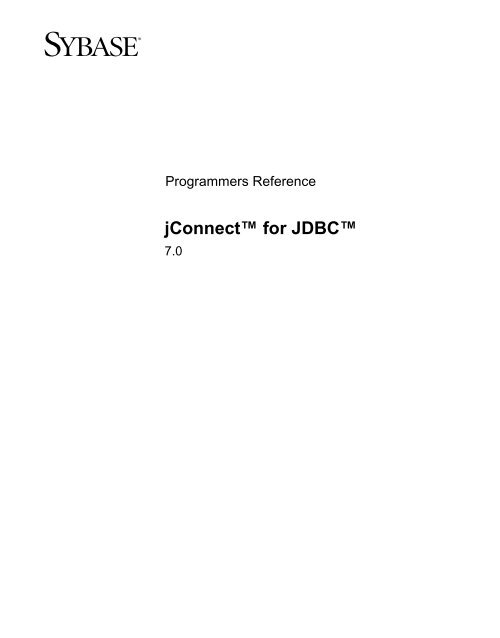 SYBASE JCONNECT 6 JDBC DRIVERS DOWNLOAD (2019)