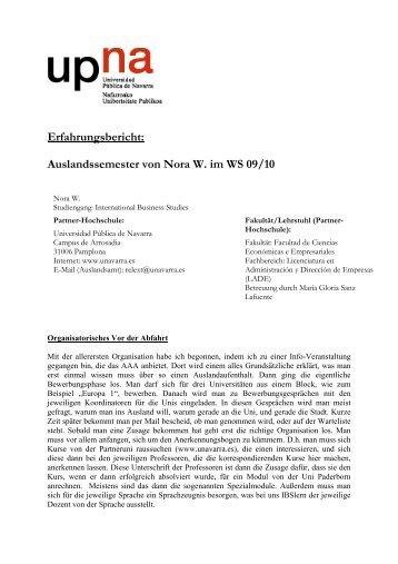 Erfahrungsbericht: Auslandssemester von Nora W. im WS 09/10
