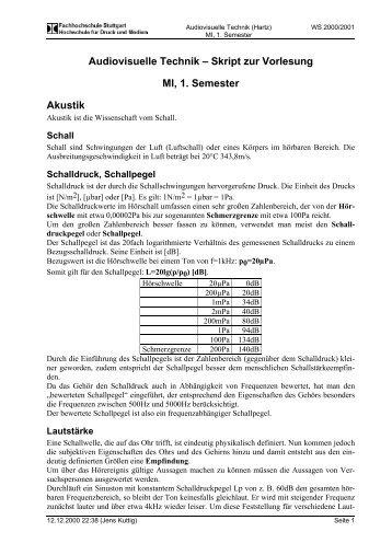 Audiovisuelle Technik – Skript zur Vorlesung Akustik MI, 1. Semester