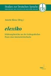 elexiko. Erfahrungsberichte aus der lexikografischen Praxis ... - Narr