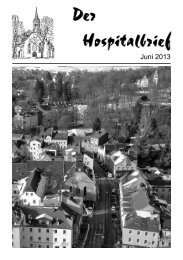 Der Hospitalbrief Juni 2013 - Hospitalkirche Hof