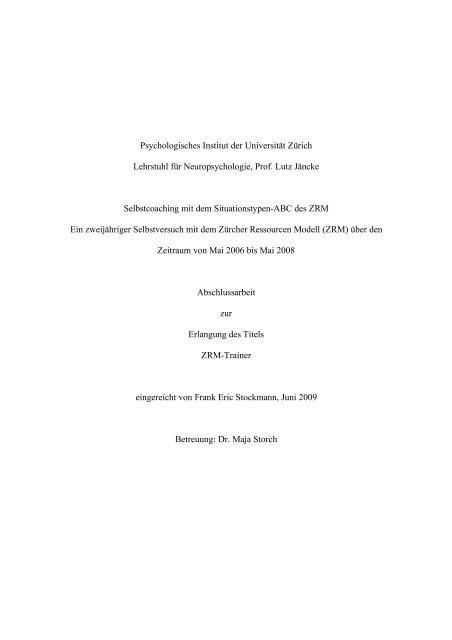 Psychologisches Institut Der Universität Zürich Lehrstuhl Für Zrm