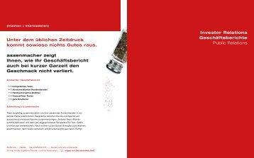 Investor Relations Geschäftsberichte Public Relations Unter dem ...