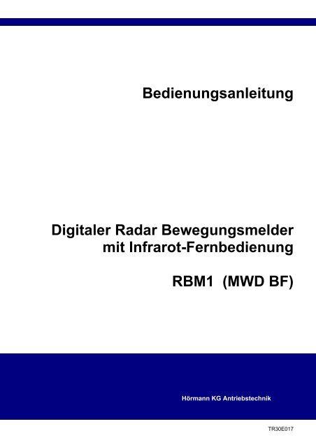 Gut gemocht Bedienungsanleitung Digitaler Radar Bewegungsmelder - Hörmann SQ99