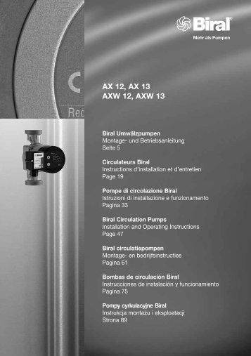 AX 12, AX 13 AXW 12, AXW 13 - Energiezuinige pompen