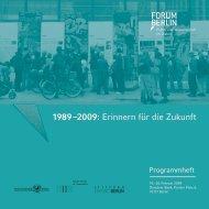 Programmheft Forum Berlin 2009 - Stiftung Zukunft Berlin