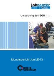 Monatsbericht Juni 2013 - Jobcenter Kreis Coesfeld