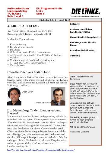4. KREISPARTEITAG Ein Neuanfang für den Landesverband Bayern?