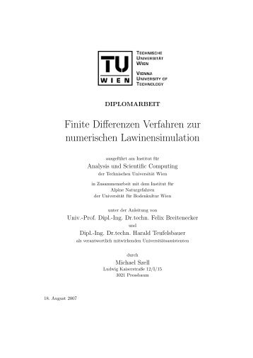 Finite Differenzen Verfahren zur numerischen ... - Michael Szell