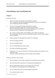 Kontrollfragen zum Gesellschaftsrecht - Weblaw