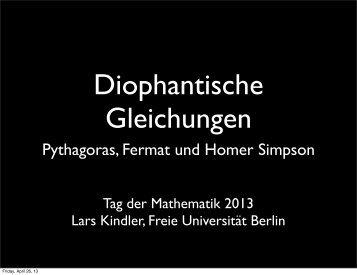 Pythagoras, Fermat und Homer Simpson - Freie Universität Berlin