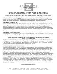 Z*ACRYL PHOTOPOLYMER FILM - DIRECTIONS - Visual Studies