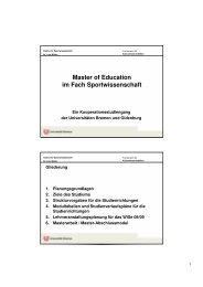 Master of Education - Studiengang Sport an der Universität Bremen