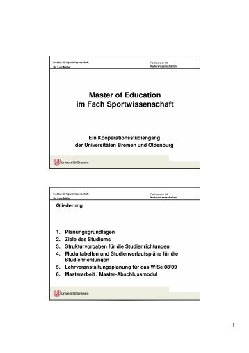 Master of Education - Studiengang Sport an der Universität Bremen