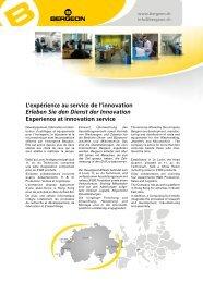 L'expérience au service de l'innovation Erleben Sie den Dienst der ...