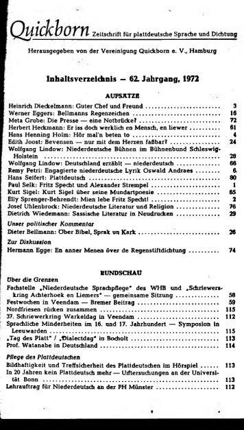 Inhaltsverzeichnis — 62. Jahrgang, 1972 - Quickborn. Vereinigung ...