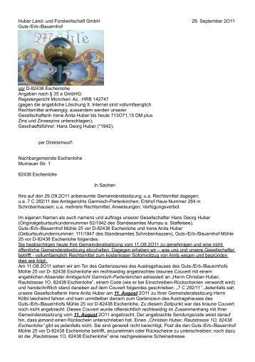 Huber Land- und Forstwirtschaft GmbH 29. September 2O11 Guts ...
