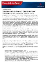 Fuchsbandwurm 2013 Empfehlung der Gesundheitsbehörde