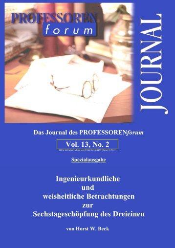 Vol. 13, No. 2 Ingenieurkundliche und weisheitliche Betrachtungen ...
