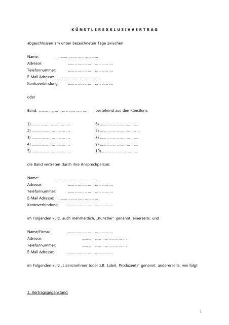 Muster Künstlervertrag Music Austria