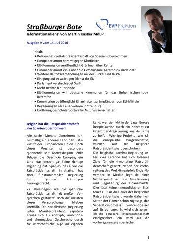 Straßburger Bote – Aktuelle Ausgabe Nr. 9/2010 ... - Martin Kastler